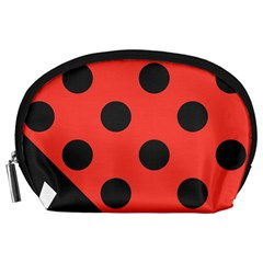 Red Black Hole White Line Wave Chevron Polka Circle Accessory Pouches (large)  by Mariart