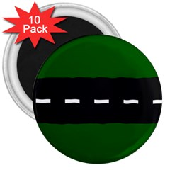 Road Street Green Black White Line 3  Magnets (10 Pack)  by Mariart
