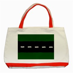 Road Street Green Black White Line Classic Tote Bag (red) by Mariart