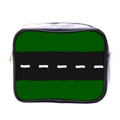 Road Street Green Black White Line Mini Toiletries Bags by Mariart