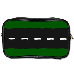 Road Street Green Black White Line Toiletries Bags by Mariart