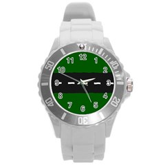 Road Street Green Black White Line Round Plastic Sport Watch (l) by Mariart