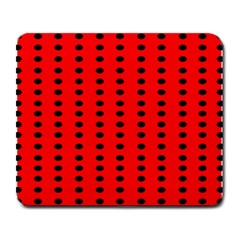 Red White Black Hole Polka Circle Large Mousepads by Mariart