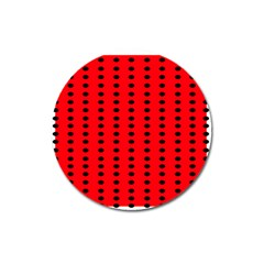 Red White Black Hole Polka Circle Magnet 3  (round) by Mariart