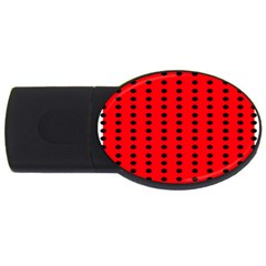 Red White Black Hole Polka Circle Usb Flash Drive Oval (2 Gb) by Mariart