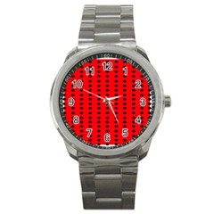 Red White Black Hole Polka Circle Sport Metal Watch by Mariart