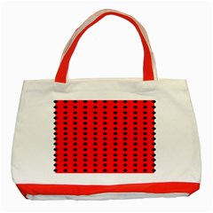 Red White Black Hole Polka Circle Classic Tote Bag (red)