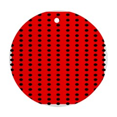 Red White Black Hole Polka Circle Round Ornament (two Sides) by Mariart