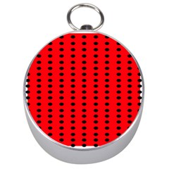 Red White Black Hole Polka Circle Silver Compasses by Mariart