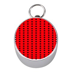 Red White Black Hole Polka Circle Mini Silver Compasses by Mariart