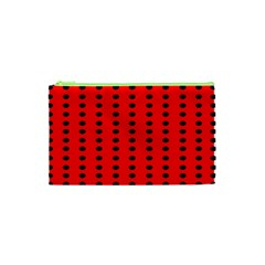 Red White Black Hole Polka Circle Cosmetic Bag (xs) by Mariart