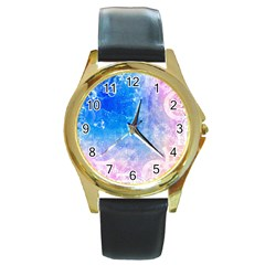 Horoscope Compatibility Love Romance Star Signs Zodiac Round Gold Metal Watch by Mariart