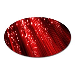 Red Space Line Light Black Polka Oval Magnet by Mariart