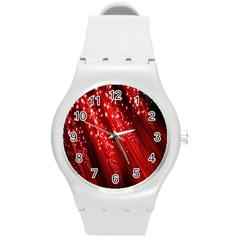 Red Space Line Light Black Polka Round Plastic Sport Watch (m) by Mariart