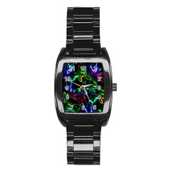 Saga Colors Rainbow Stone Blue Green Red Purple Space Stainless Steel Barrel Watch by Mariart