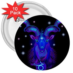 Sign Capricorn Zodiac 3  Buttons (10 Pack)  by Mariart