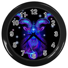 Sign Capricorn Zodiac Wall Clocks (black) by Mariart