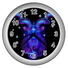 Sign Capricorn Zodiac Wall Clocks (silver)  by Mariart