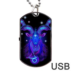Sign Capricorn Zodiac Dog Tag Usb Flash (two Sides) by Mariart