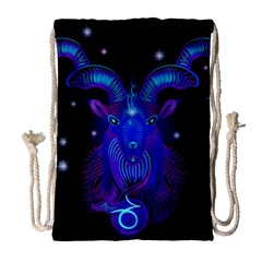 Sign Capricorn Zodiac Drawstring Bag (large) by Mariart
