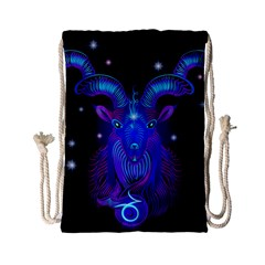 Sign Capricorn Zodiac Drawstring Bag (small) by Mariart