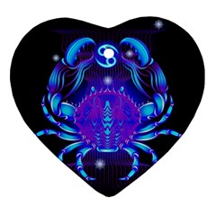 Sign Cancer Zodiac Ornament (heart) by Mariart