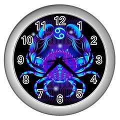 Sign Cancer Zodiac Wall Clocks (silver)  by Mariart