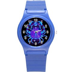 Sign Cancer Zodiac Round Plastic Sport Watch (s) by Mariart