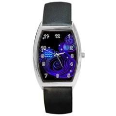 Sign Aquarius Zodiac Barrel Style Metal Watch