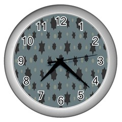Star Space Black Grey Blue Sky Wall Clocks (silver)  by Mariart
