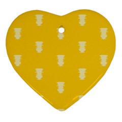 Waveform Disco Wahlin Retina White Yellow Vertical Ornament (heart) by Mariart