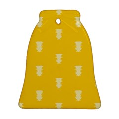 Waveform Disco Wahlin Retina White Yellow Vertical Bell Ornament (two Sides) by Mariart