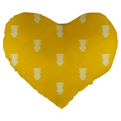 Waveform Disco Wahlin Retina White Yellow Vertical Large 19  Premium Heart Shape Cushions by Mariart