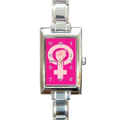 Women Safety Feminist Nail Strong Pink Circle Polka Rectangle Italian Charm Watch by Mariart