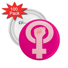 Women Safety Feminist Nail Strong Pink Circle Polka 2 25  Buttons (100 Pack)  by Mariart