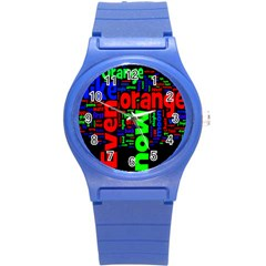 Writing Color Rainbow Round Plastic Sport Watch (s) by Mariart