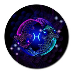 Sign Pisces Zodiac Round Mousepads by Mariart