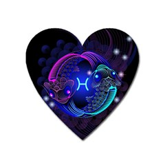 Sign Pisces Zodiac Heart Magnet by Mariart