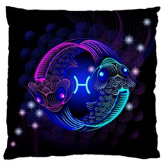 Sign Pisces Zodiac Large Flano Cushion Case (one Side) by Mariart