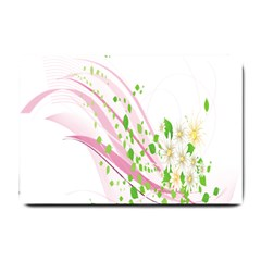 Sunflower Flower Floral Leaf Line Wave Chevron Pink Small Doormat  by Mariart