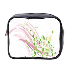 Sunflower Flower Floral Leaf Line Wave Chevron Pink Mini Toiletries Bag 2 Side by Mariart