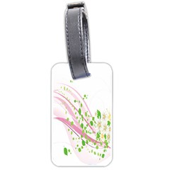 Sunflower Flower Floral Leaf Line Wave Chevron Pink Luggage Tags (one Side)  by Mariart