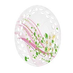 Sunflower Flower Floral Leaf Line Wave Chevron Pink Oval Filigree Ornament (two Sides) by Mariart