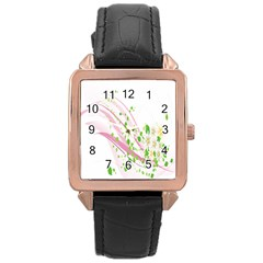Sunflower Flower Floral Leaf Line Wave Chevron Pink Rose Gold Leather Watch  by Mariart