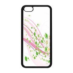 Sunflower Flower Floral Leaf Line Wave Chevron Pink Apple Iphone 5c Seamless Case (black) by Mariart