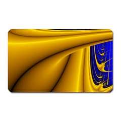 Waves Wave Chevron Gold Blue Paint Space Sky Magnet (rectangular) by Mariart