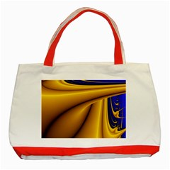 Waves Wave Chevron Gold Blue Paint Space Sky Classic Tote Bag (red) by Mariart