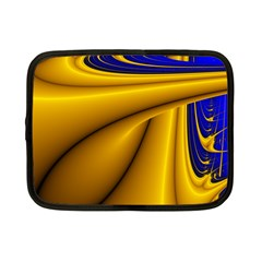Waves Wave Chevron Gold Blue Paint Space Sky Netbook Case (small)  by Mariart