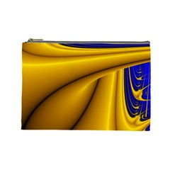 Waves Wave Chevron Gold Blue Paint Space Sky Cosmetic Bag (large)