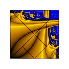 Waves Wave Chevron Gold Blue Paint Space Sky Acrylic Tangram Puzzle (4  X 4 ) by Mariart